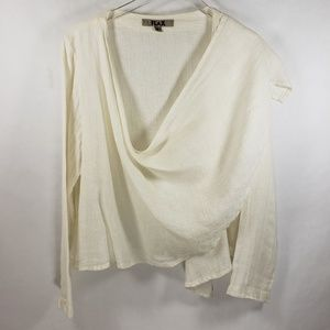 FLAX | 100% Linen White Long Sleeve Top Sz Small